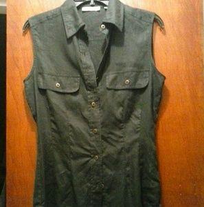 NWOT Tahari sleaveless shirt 100% linen HongKong6